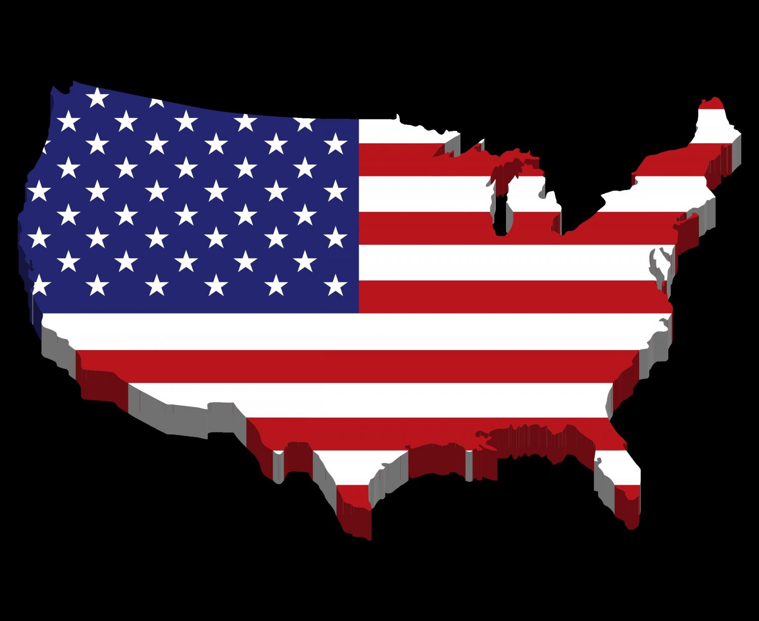 3d image of the united states with american flag overlay