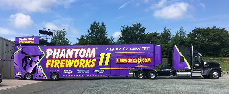Phantom Fireworks trailer tuck for NASCAR
