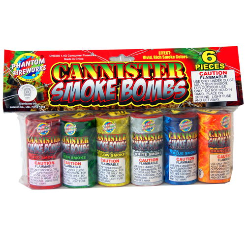 Ground & Non-Aerial | Smoke Items | Cannister Smoke Bombs, 6 Piece