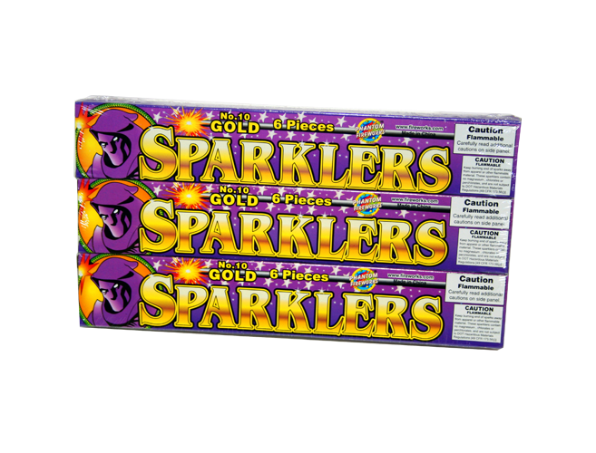 Free 6 pk  Phantom Fireworks Gold Sparklers – In Store Only
