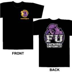 Fireworks University FU -Black T-shirt (XL)
