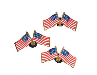 Metal Double American Flag Pins (24 pcs)(Online Only)