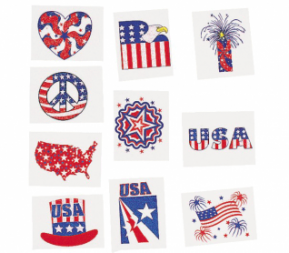 Patriotic Glitters Tattoos 36 pcs (Online Only)