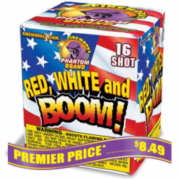 Red White and Boom 200 gram fireworks repeater