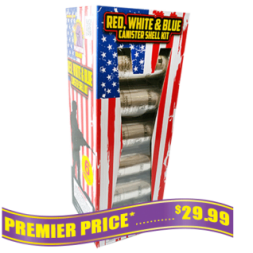 Red White and Blue reloadable fireworks mortars