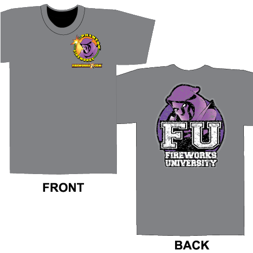 Fireworks University FU - Gray T-shirt (S)
