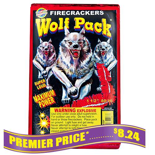 Wolf Pack Firecrackers - 80 packs of 16 crackers